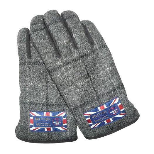 BRITISHWOOL(ブリティッシュウール) 裏ボアニットスエードコンビボタン付MEN'S手袋(チャコール)