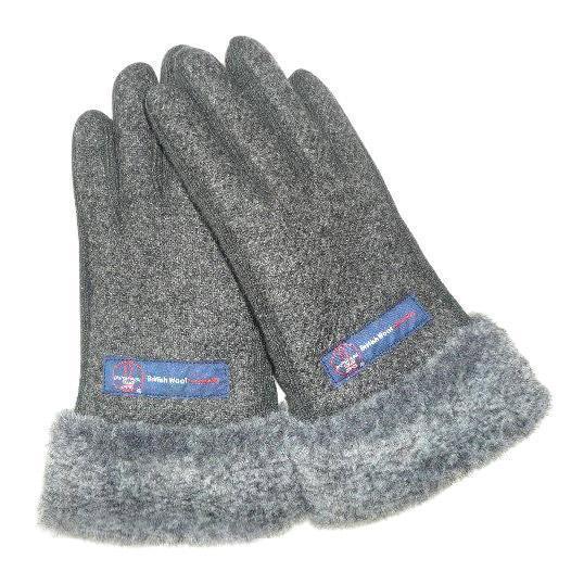 BRITISHWOOL(ブリティッシュウール) 裏ボアニットスエードコンビボアLADY'S手袋(ブラック)
