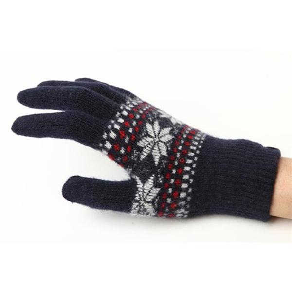 iTouch Gloves(アイタッチグローブ) スマホ用手袋 ニット ジャカード S ネイビー