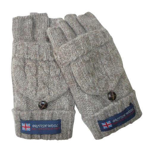 BRITISHWOOL(ブリティッシュウール) 裏ボアニットケーブルフードLADY'S手袋(ベージュ)