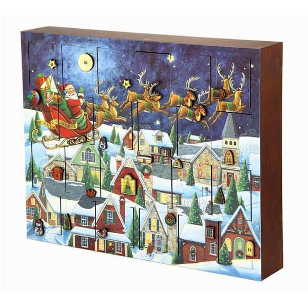 アドベントカレンダー サンタさんが空を飛んでいる絵柄
