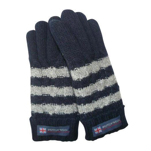 BRITISHWOOL(ブリティッシュウール) 裏ボアニットケーブルボーダー五指LADY'S手袋(ネイビー/グレー)