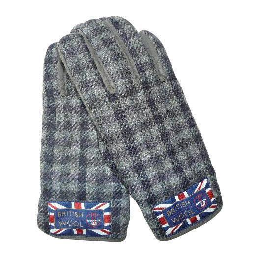 BRITISHWOOL(ブリティッシュウール) 裏ボアニットスエードコンビボタン付MEN'S手袋(ネイビー)