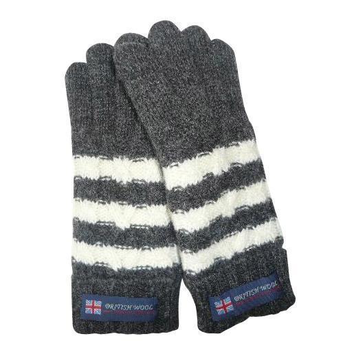 BRITISHWOOL(ブリティッシュウール) 裏ボアニットケーブルボーダー五指LADY'S手袋(チャコール/オフ)