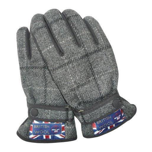 BRITISHWOOL(ブリティッシュウール) 裏ボアニットスエードコンビベルト付MEN'S手袋(チャコール)