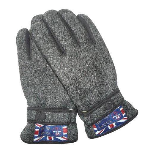 BRITISHWOOL(ブリティッシュウール) 裏ボアニットスエードコンビベルト付MEN'S手袋(ブラック)