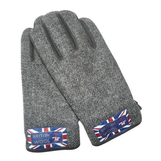 BRITISHWOOL(ブリティッシュウール) 裏ボアニットスエードコンビボタン付MEN'S手袋(ブラック)